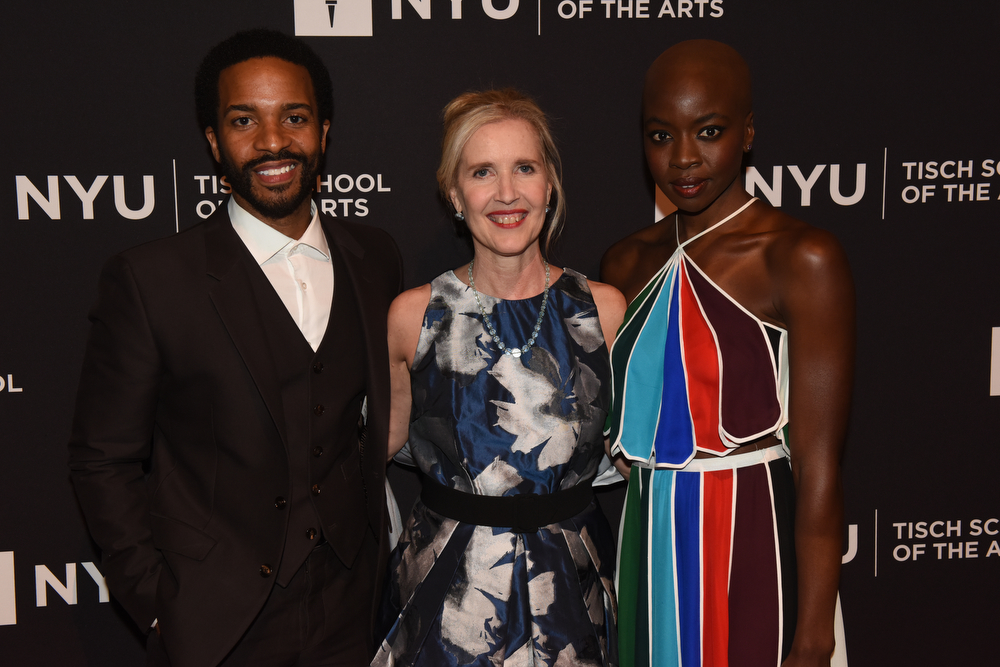 Honorees André Holland and Danai Gurira with Dean Allyson Green