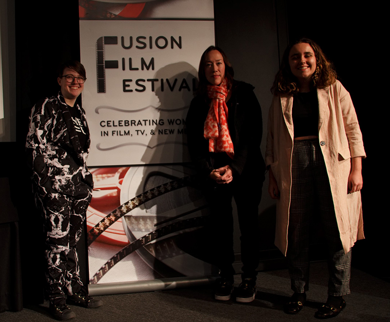 Karyn Kusama and KK with Fusion team members who moderated the event, Bernie Torres and Kaylee Scinto.