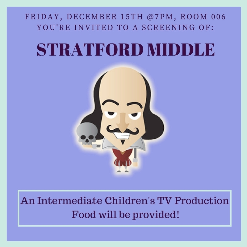 Poster for Stratford Middle, an Intermediate Children's TV Production class.