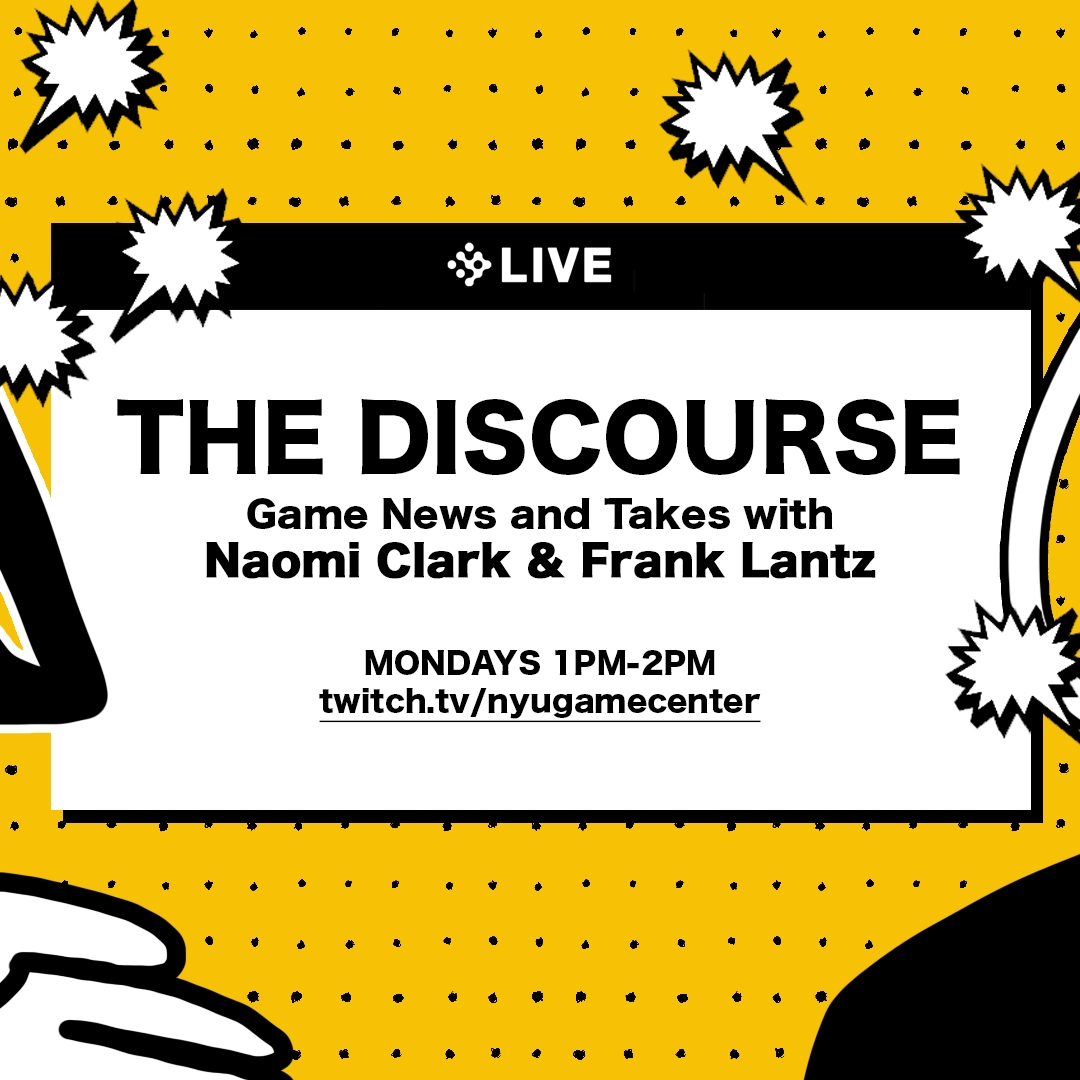 The Discourse title screen featuring abstract drawings of Naomi Clark and Frank Lantz