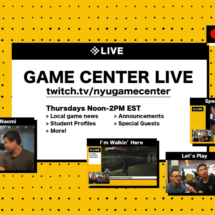 Key art for Game Center live including screenshots of student games and pictures of Faculty talking on the show.
