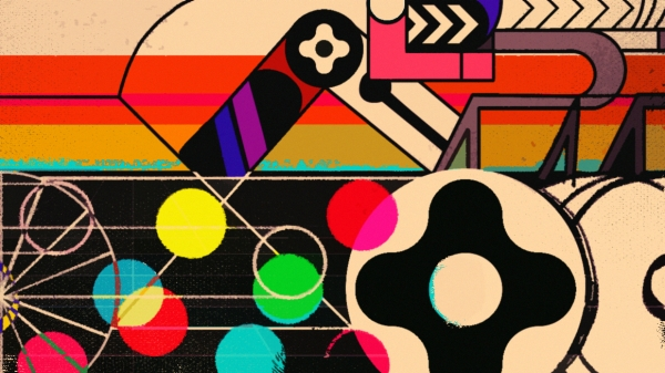 NYU Game Center Incubator Showcase poster featuring brightly colored dots and stripes