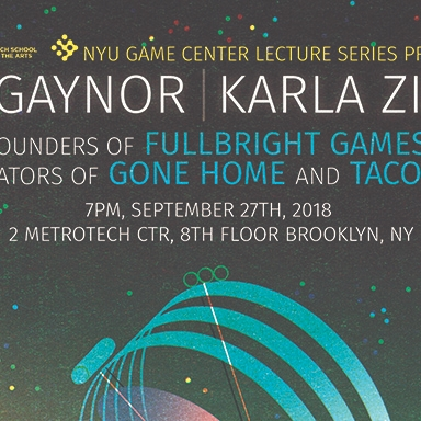 NYU Game Center Lecture Series poster featuring the house from gone home and Tacoma space station