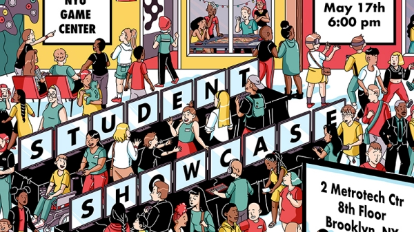 Illustration of students play games at a showcase.