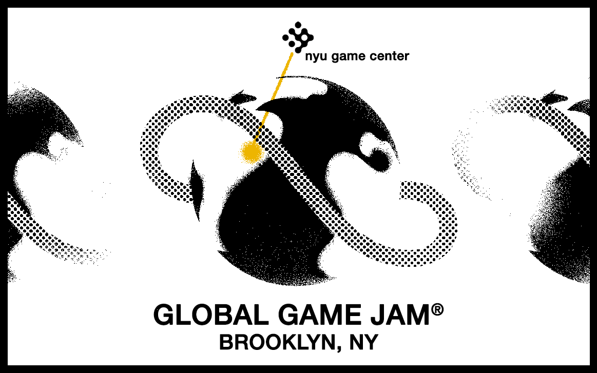 Black and white global featuring yellow line pointing to Brooklyn labeled
