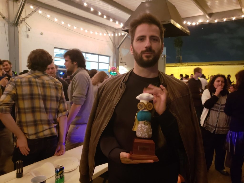 Pietro Righi Riva with his IndieCade Award