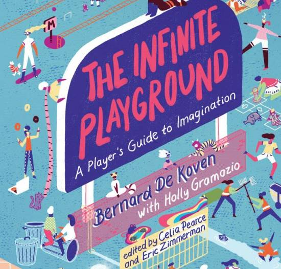 Infinite Playground book cover illustrated with people playing games