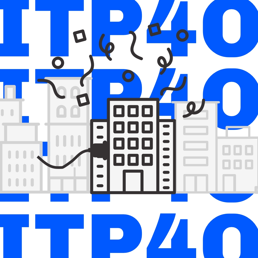 Logo for ITP 40 showing a new building in Brooklyn being plugged in