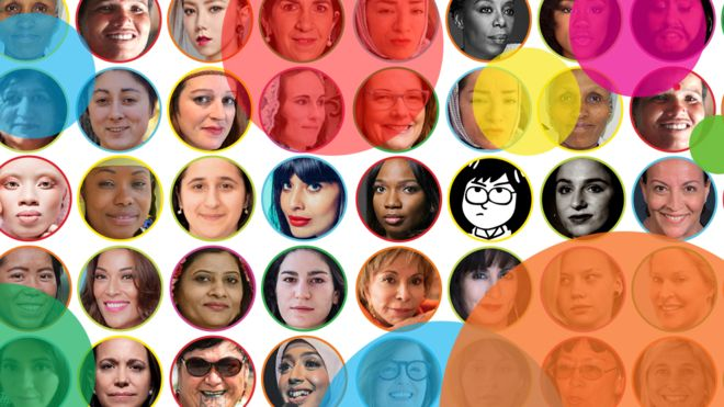 Many of the BBC's 100 women in an info graphic with each of their faces
