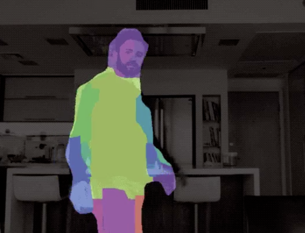 Person uses software that follows his body using colors