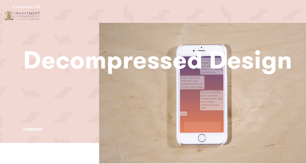 "iPhone with the logo over it reading ""Decompressed Design"""