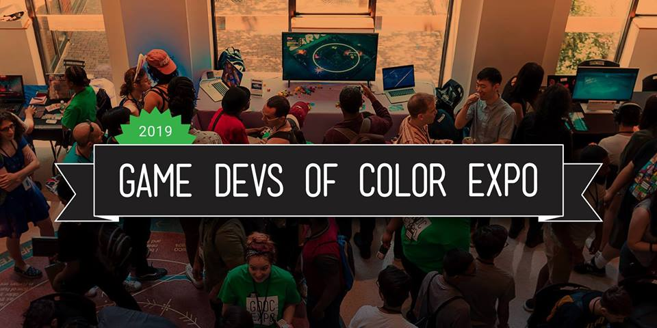 Game Devs of Color logo with people enjoying themselves at an expo