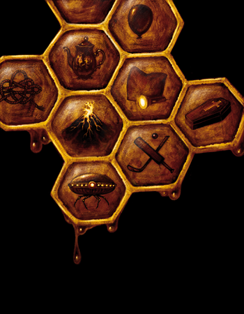 image of a honey comb and within each square of the honey comb are game icons