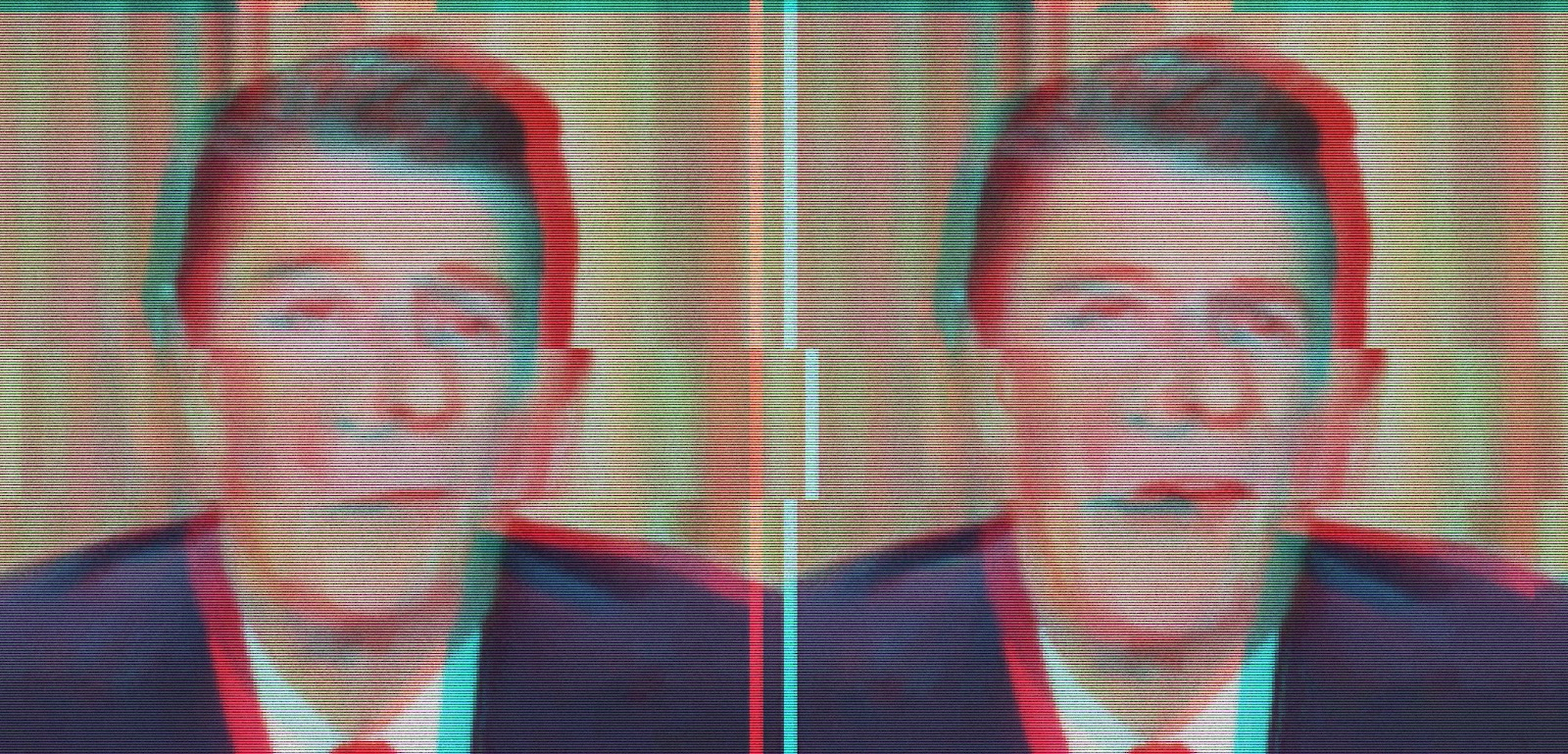 Distorted image of Ronald Reagan on TV
