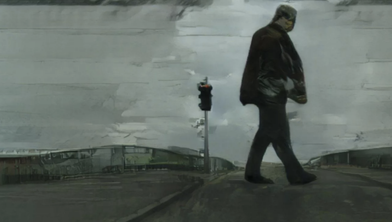 Screenshot from Uncanny Road of a man walking across a desolate looking road, the whole image looks like a grim painting