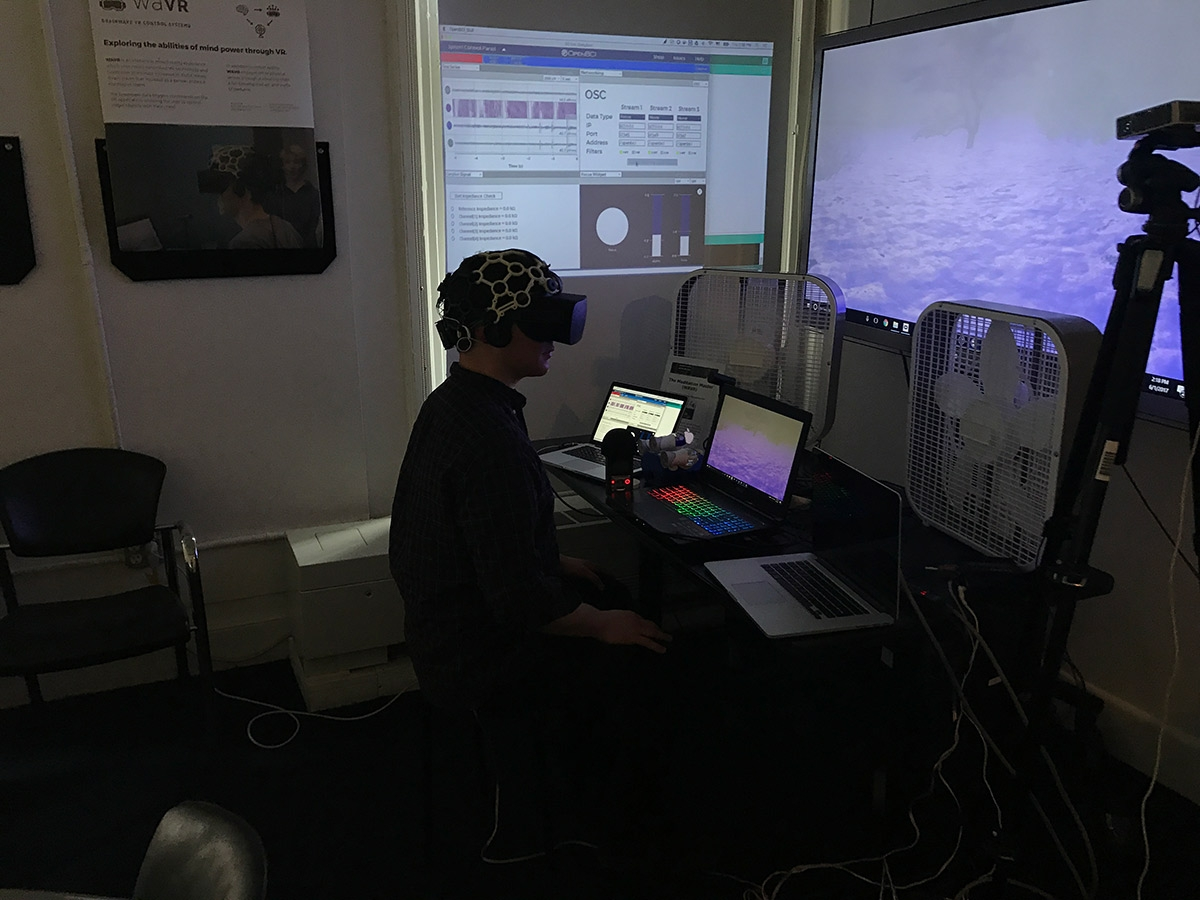 A person sitting in a dark room wearing a brainwave helmet and VR headset