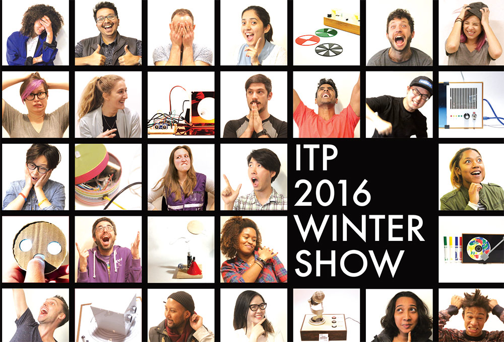 Winter Show 2016 poster - a collage of headshots of students