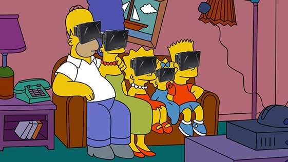 a photoshopped image of the Simpsons on the couch wearing VR headsets