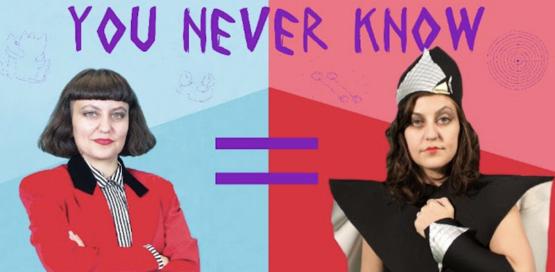 "Two images of Amy Khoshbin, one dressed in a suit and one in whimsical clothing, with an equality sign between then and it says ""You Never Know"""