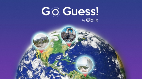 Go Guess! by Oblix logo; picture of the earth with little bubbles showing specific, zoomed-in geographic areas