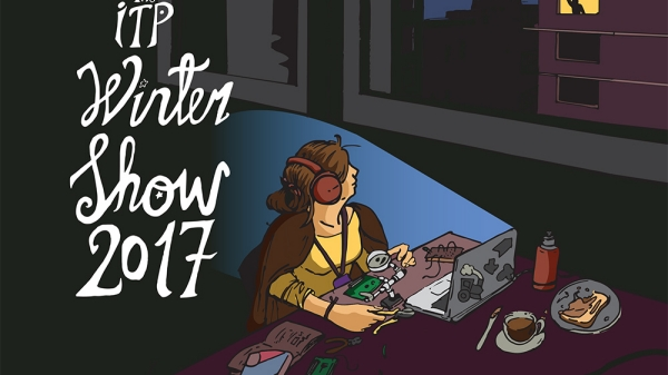 Image poster for ITP Winter Show showing student working at their computer late into the night
