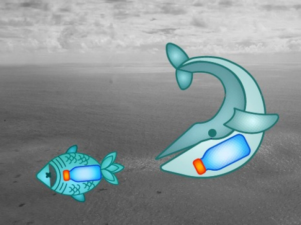 Climoji image of a whale and fish with trash inside their bodies
