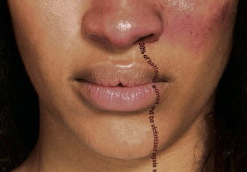 Diana Freed, image of a woman with a nosebleed of words