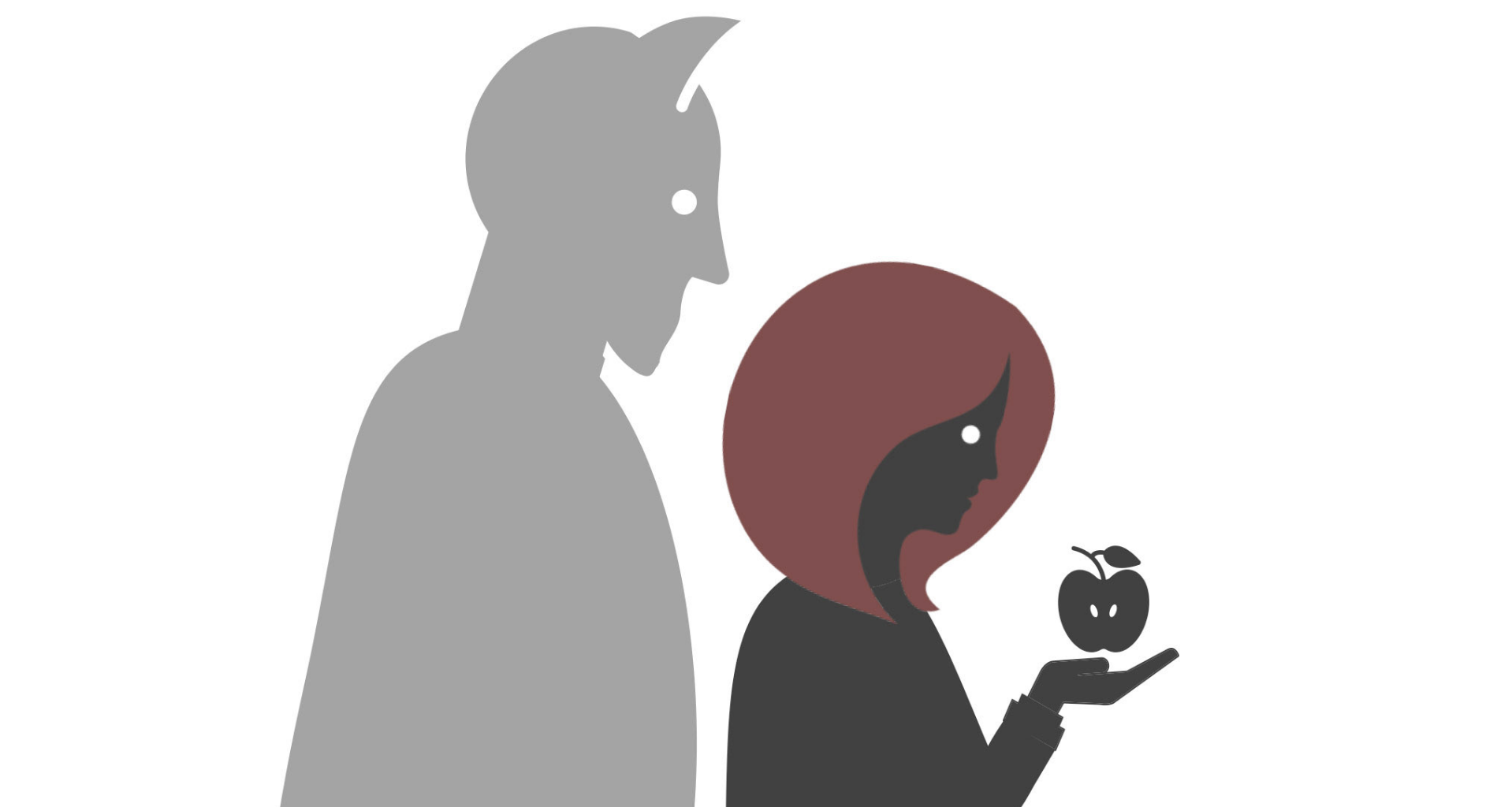 Image of a devil standing behind a woman who is looking at the apple she is holding
