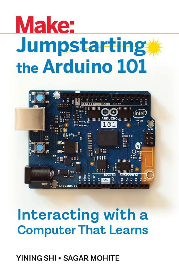 cover art of book, closeup of the Arduino microprocessor