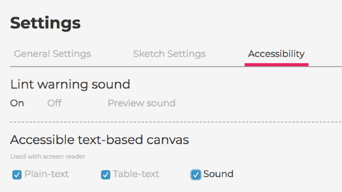 Screenshot of the accessibility settings of the p5.js web editor. These settings include lint warning sounds, text, and table-text outputs for screen readers, and sound output.