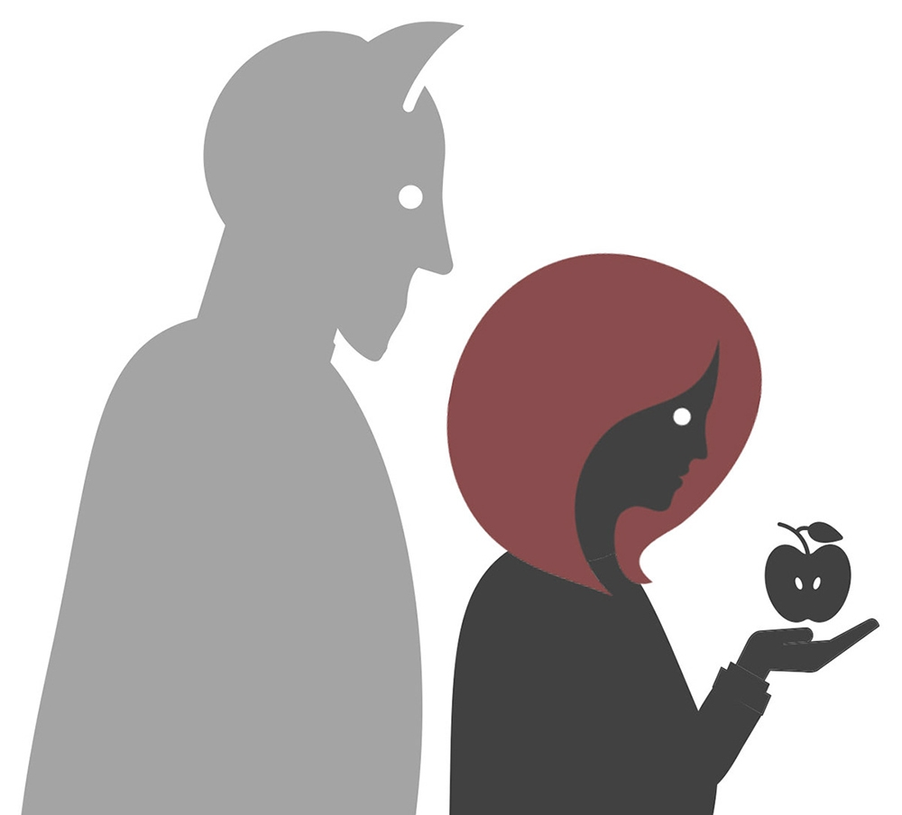 Illustration of a woman holding an apple with the devil's shadow behind her