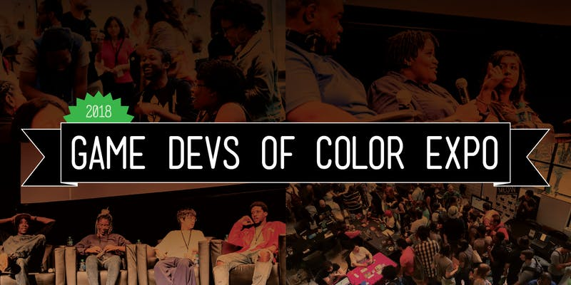 "Game Devs of Color Expo logo featuring images from last year's conference with ""Game Devs of Color Expo"" written over it"