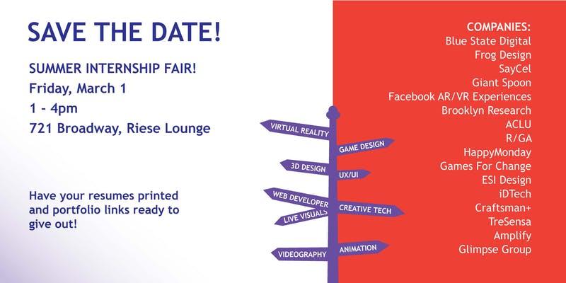 IMA/Games/IDM Summer Internship Fair