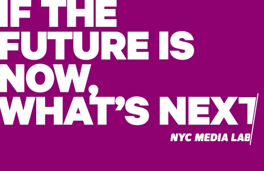 "NYC Media Lab Logo that says ""if the future is now, what's next"""