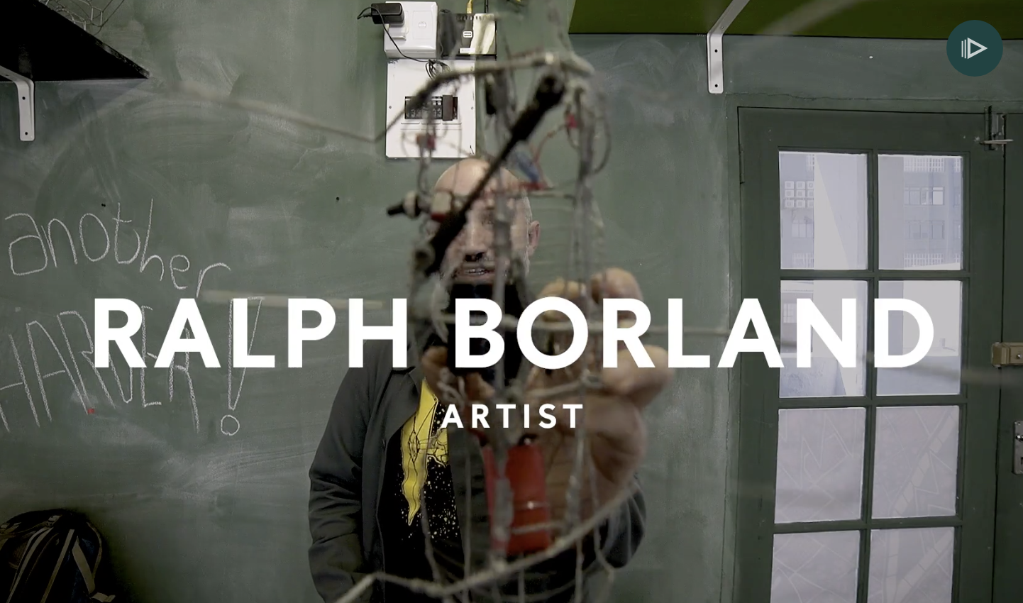 Screenshot from video profile of Ralph Borland and his work, but the title over it reading Ralph Borland, Artist