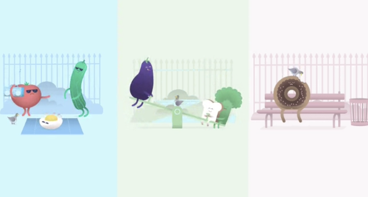 Image of a tomato, cucumber, and egg dancing, eggplant, bread, and broccoli on the seesaw, and a donut on a park bench getting pecked by a pigeon