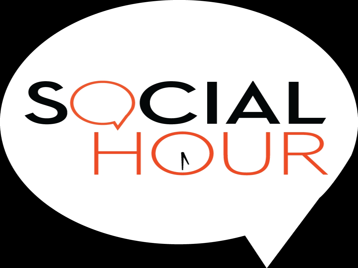 Image of words that say social hour.