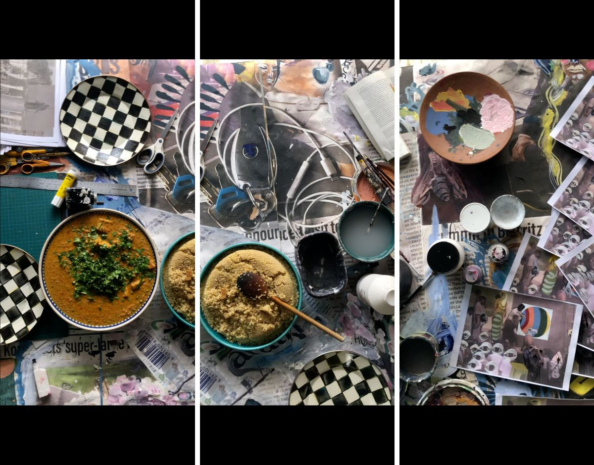 bowls of soup, spices, art supplies