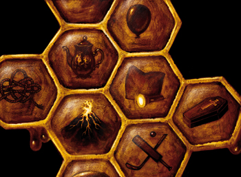honeycomb with various pictures of symbols