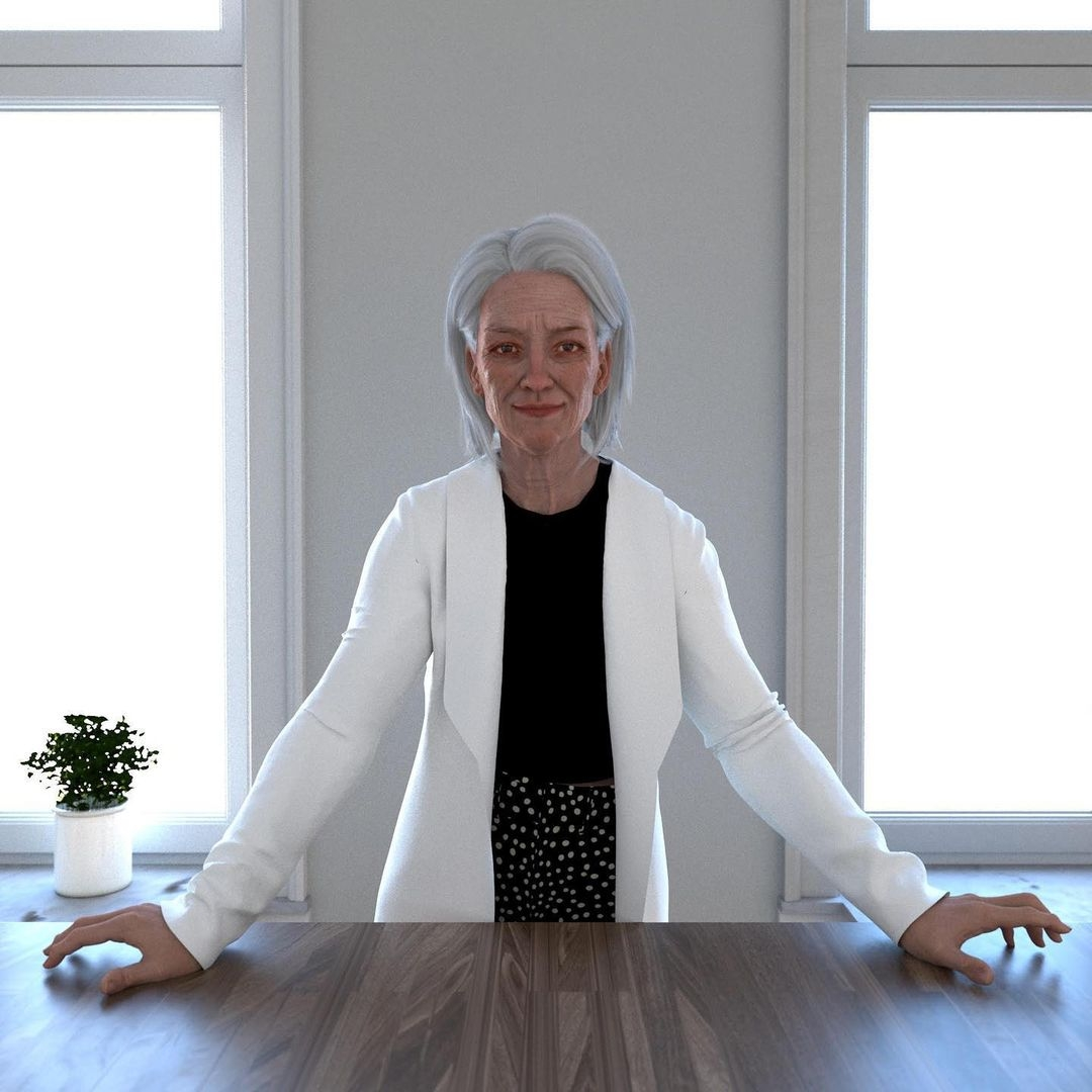 A computer generated image of a fashionable grey-haired woman leaning on a table, looking at the camera with a serene, happy look