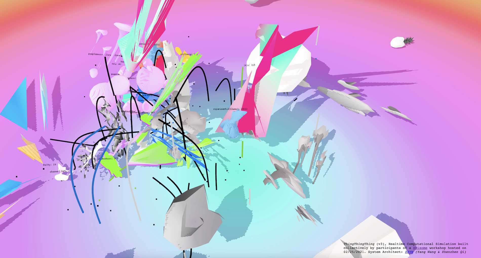 Brightly colored neon 2D and 3D shapes in a psychedelic virtual space