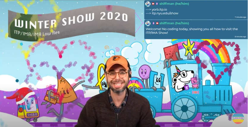 Winter show coverage with Dan Shiffman and Coding Train logo