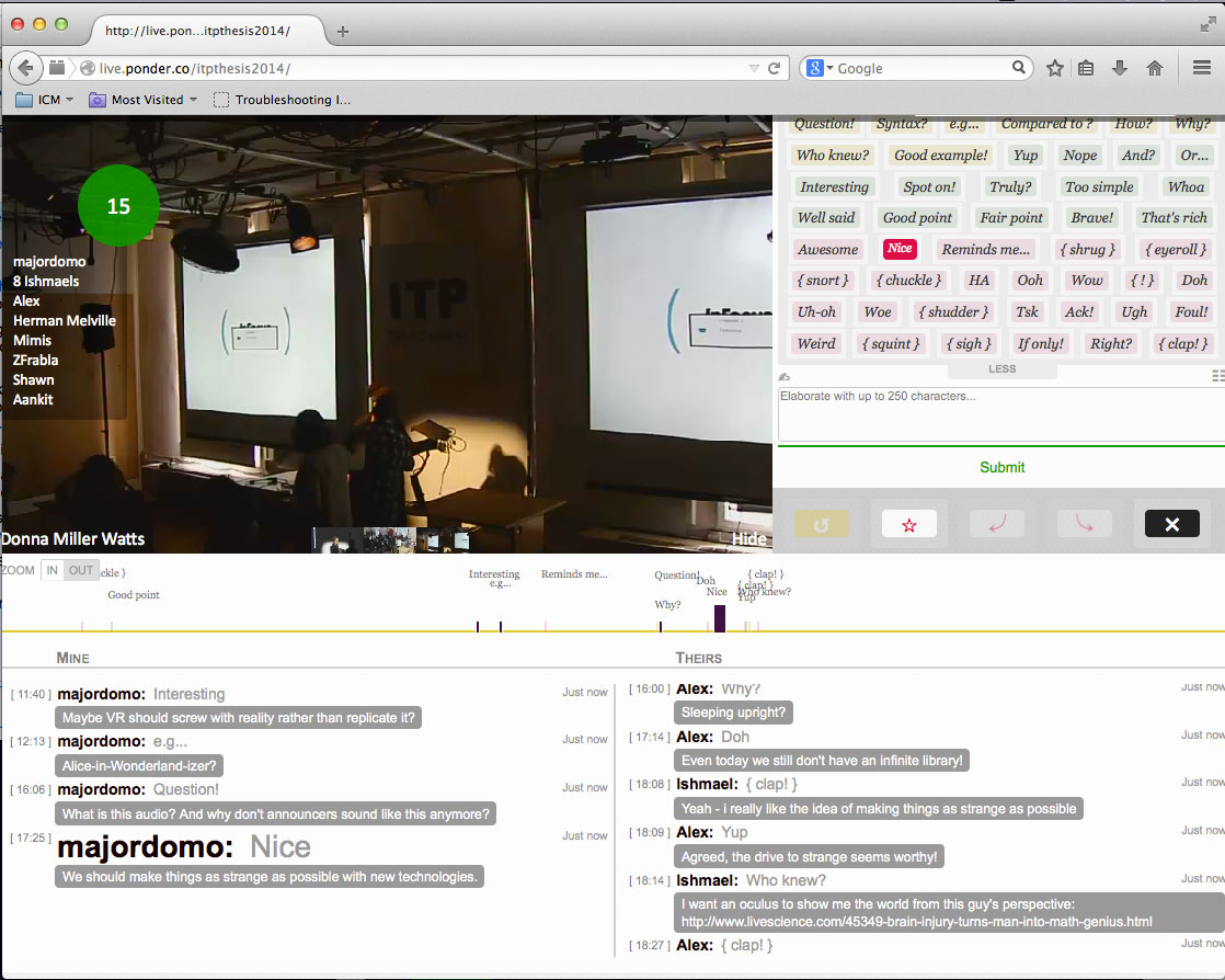 a screenshot of the live video thesis presentation with the chat space