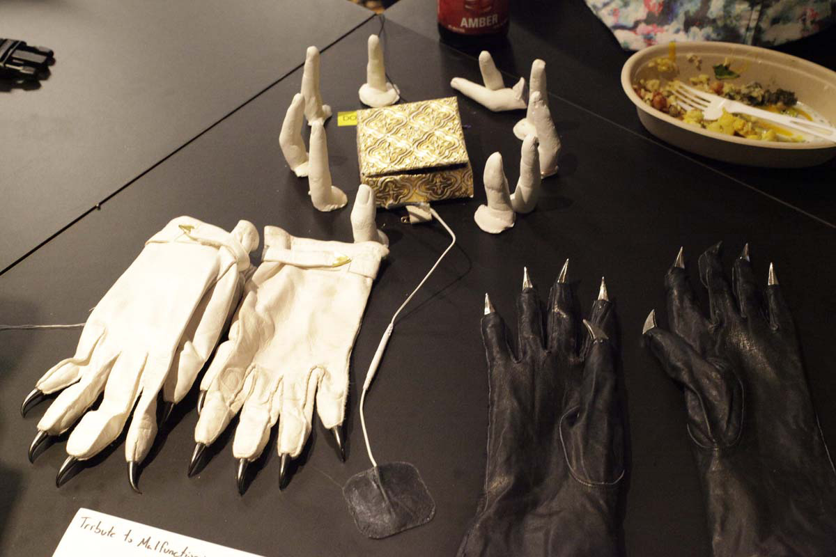 fingers made of clay, 2 pairs of gloves with metal tips as nails