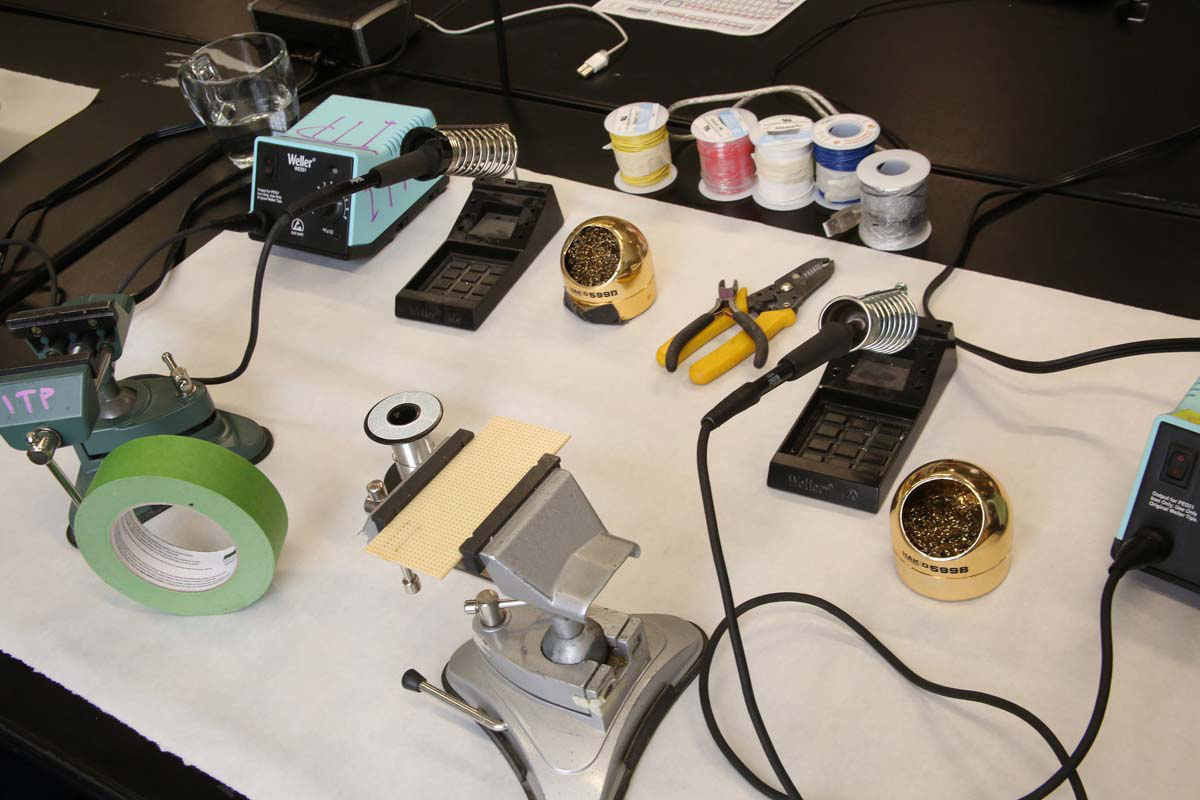a display of soldering equipment