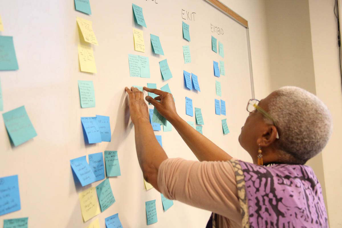 a woman working on a project with a wall of post-its
