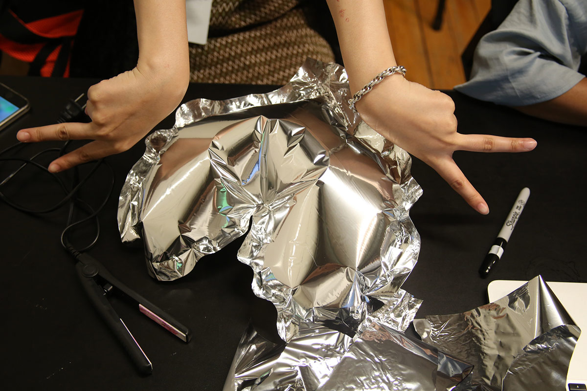 a heart made out of foil