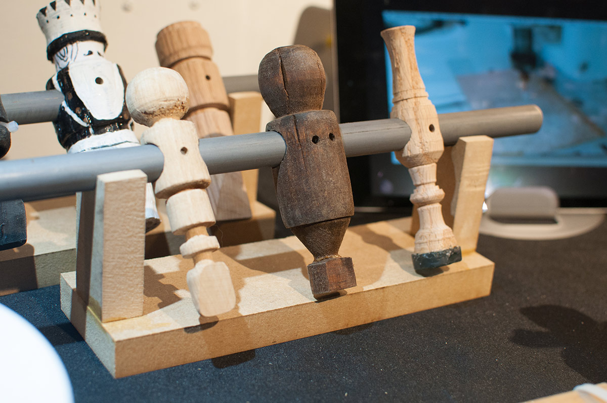 wooden foosball players
