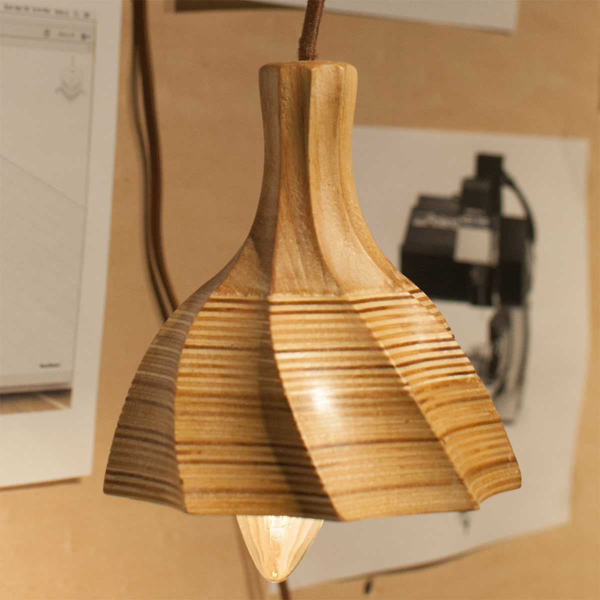 a spiraled wooden lamp shade