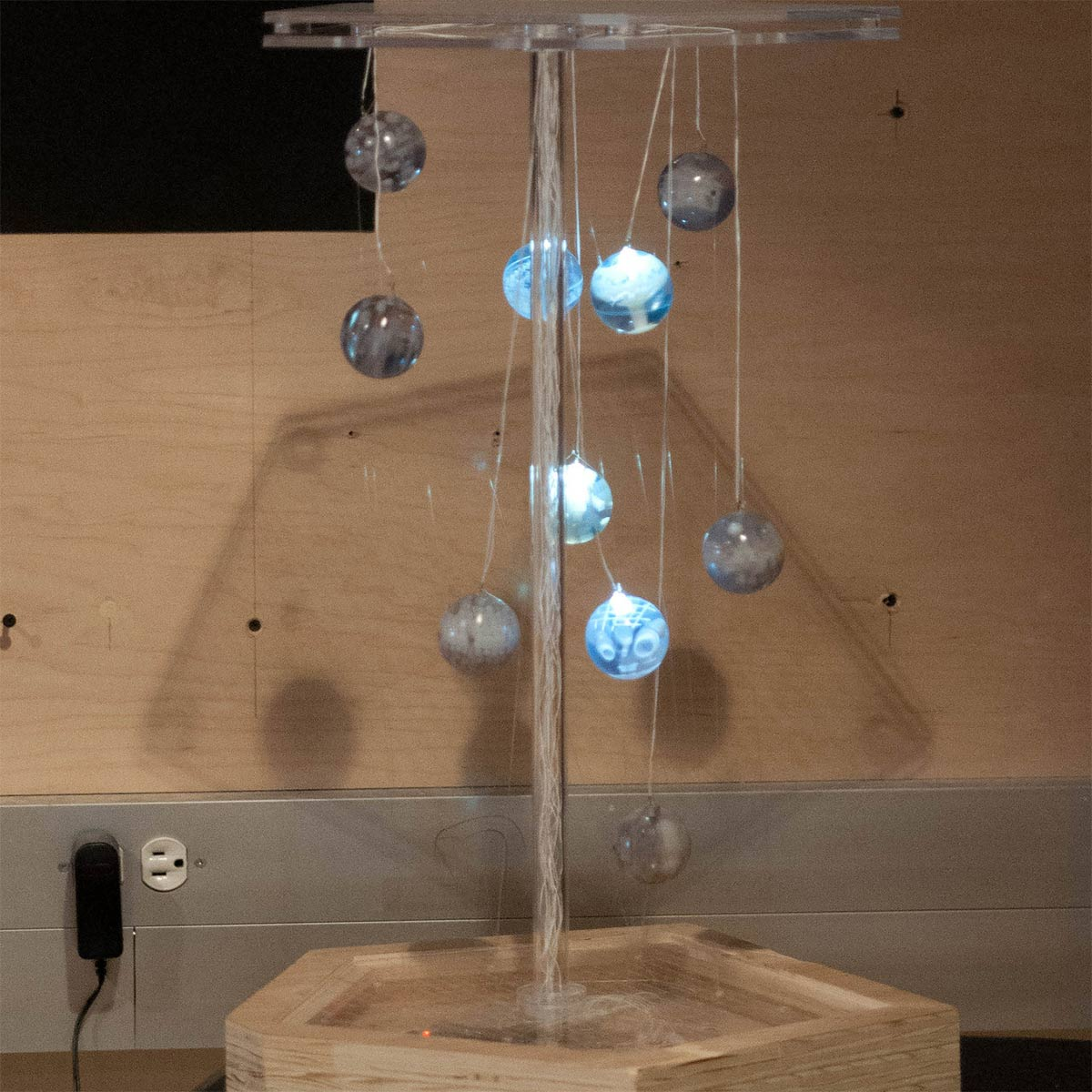 marbles lit up and suspended